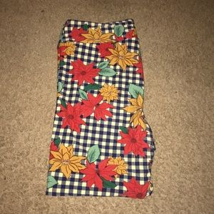 LulaRoe Fall Country Floral Gingham Leggings